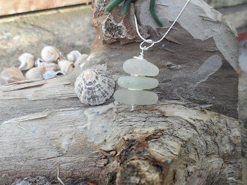 Beautiful soft whites sea glass tiered pendant