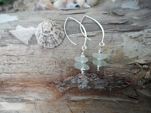 Delicate soft blue sea glass drop earrings