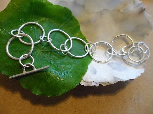 Hand-forged simple plain multi link sterling silver bracelet