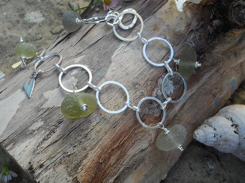 Unusual soft olive green sea glass bracelet
