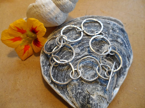 Hand-forged textured sterling silver multi link bracelet - gorgeous!