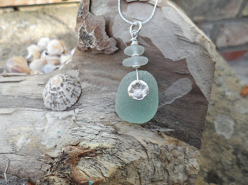 Lovely mix of soft turquoise sea glass pendant