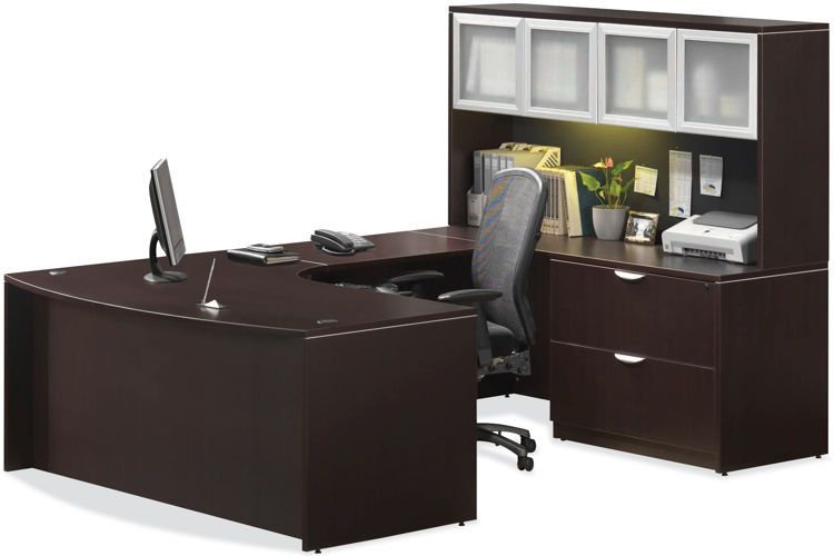 U Shaped Desk with Hutch Espresso