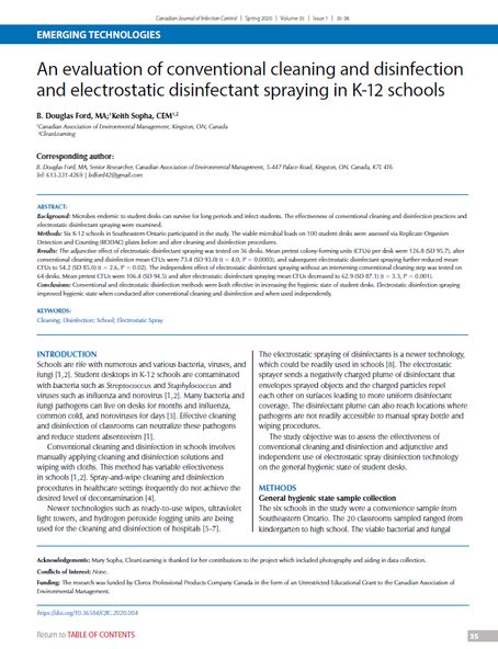 An Evaluation of Conventional Cleaning and Disinfection and Electrostatic Disinfectant Spraying in K