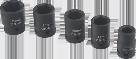 "Impact sockets short 40 mm 1/2"" inner square"