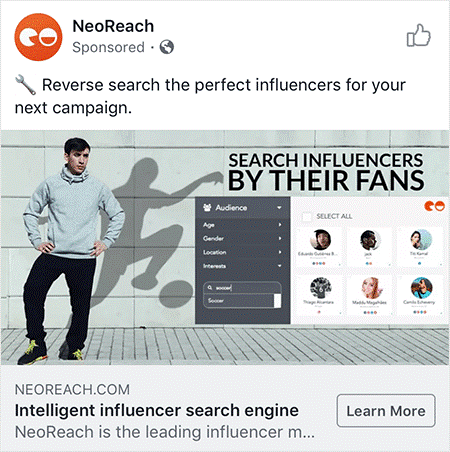 Neoreach Faceboo ad example