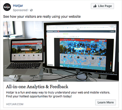 Hotjar facebook ad example