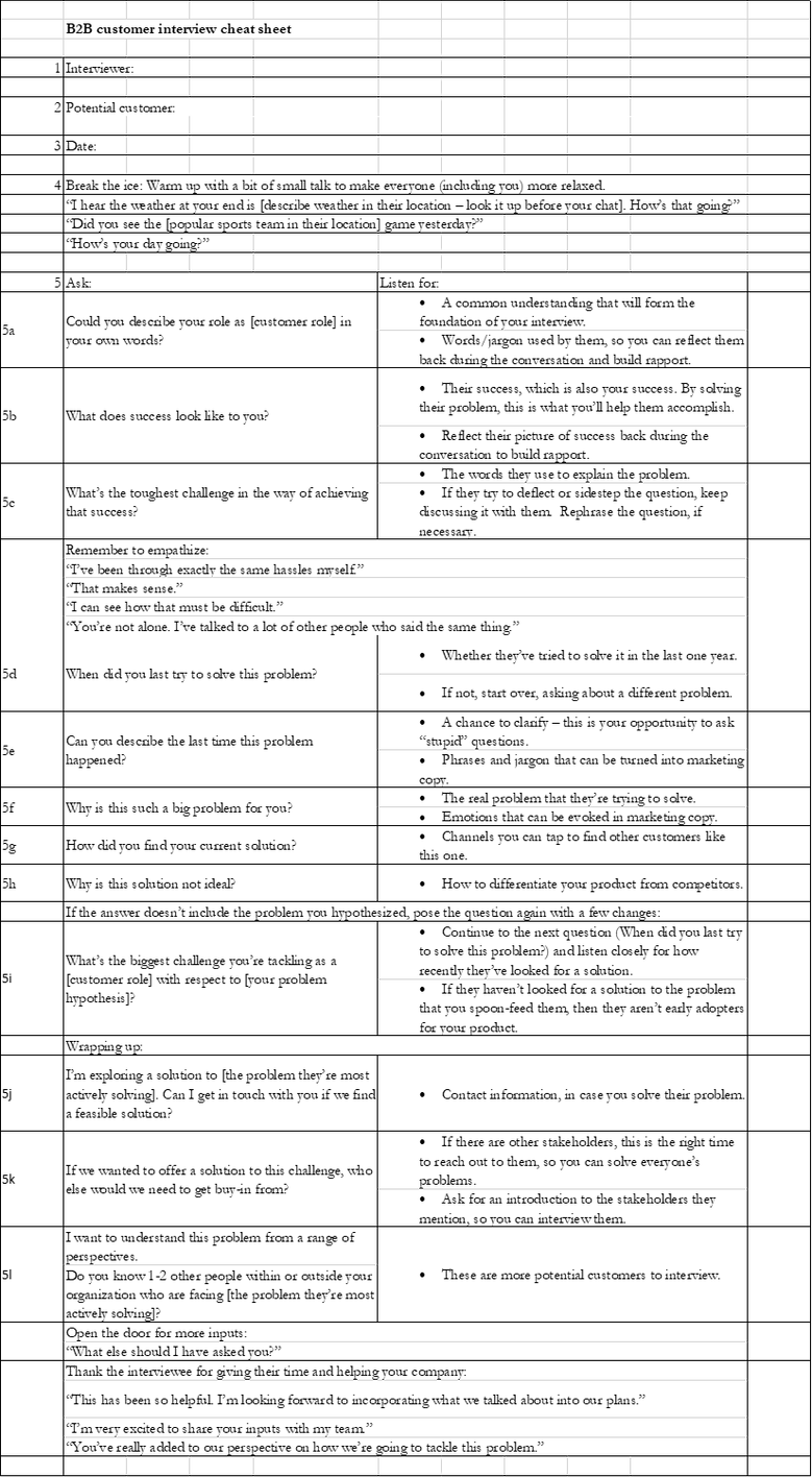 B2B Customer discovery interview cheatsheet