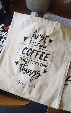 Dritan Alsela_Print Design_JuteBeutel Design_Merch_First Coffee