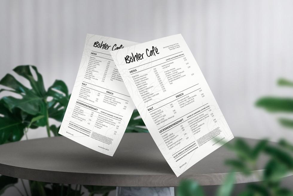 Menu Design für Böhler Cafe