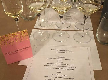 Wine samples at a wine education class