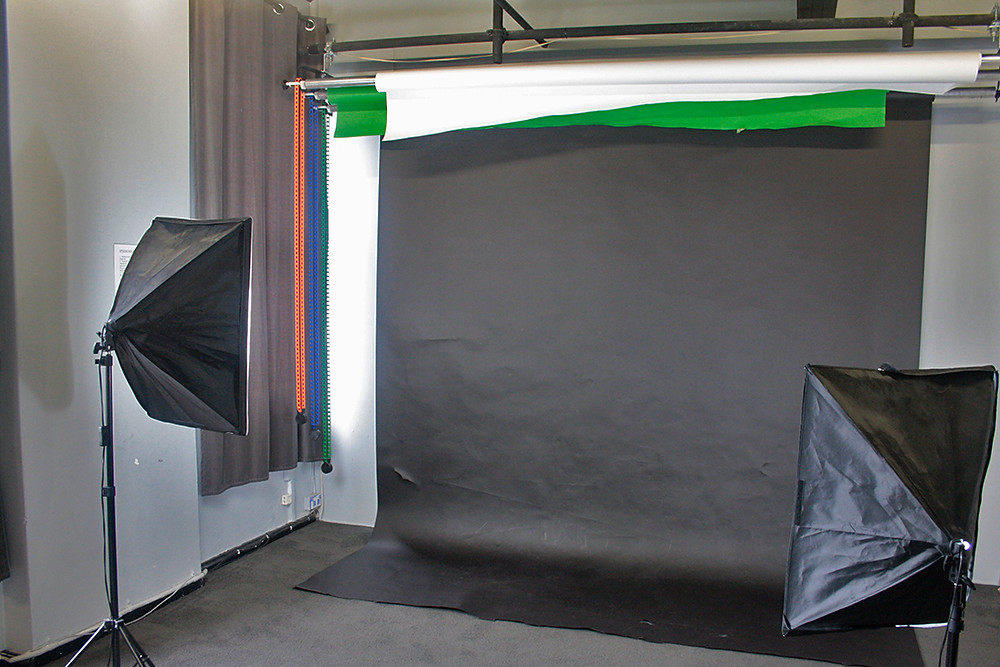 Black photographic backdrop for photo studio