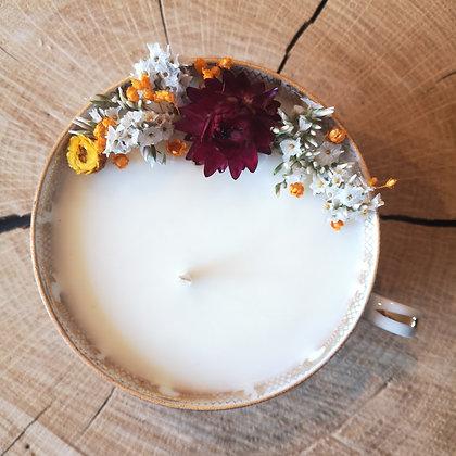 Bougie fleurie parfum Chaï latte