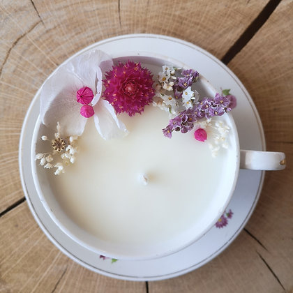 Bougie fleurie parfum vanille