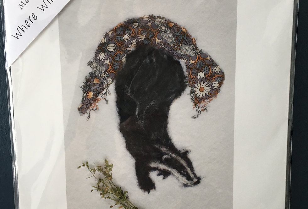Badger print signed by artist- Molly Ellis