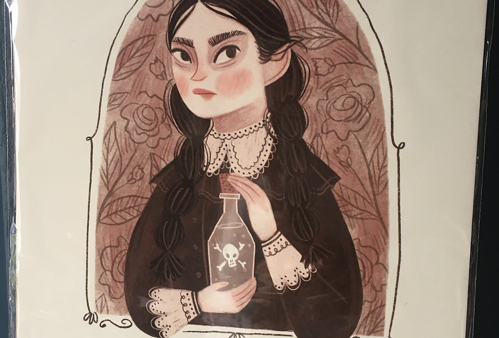 Wednesday Addams Signed Artist Print-Rachel Corcoran
