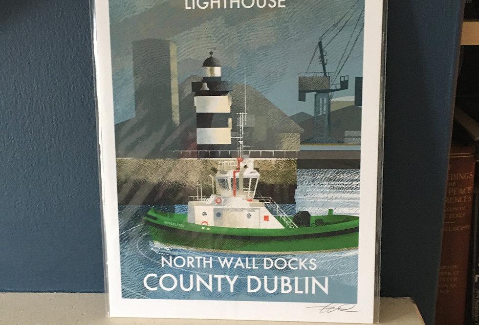 Irish Lighthouse Series A4 Artist Signed Print-North Wall Dublin