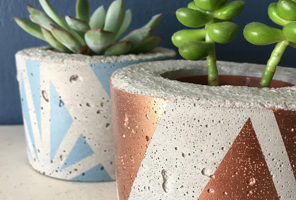 Concrete handmade graphic planter