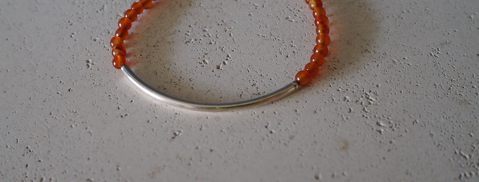 Carnelian round bead and sterling silver handmade bracelet