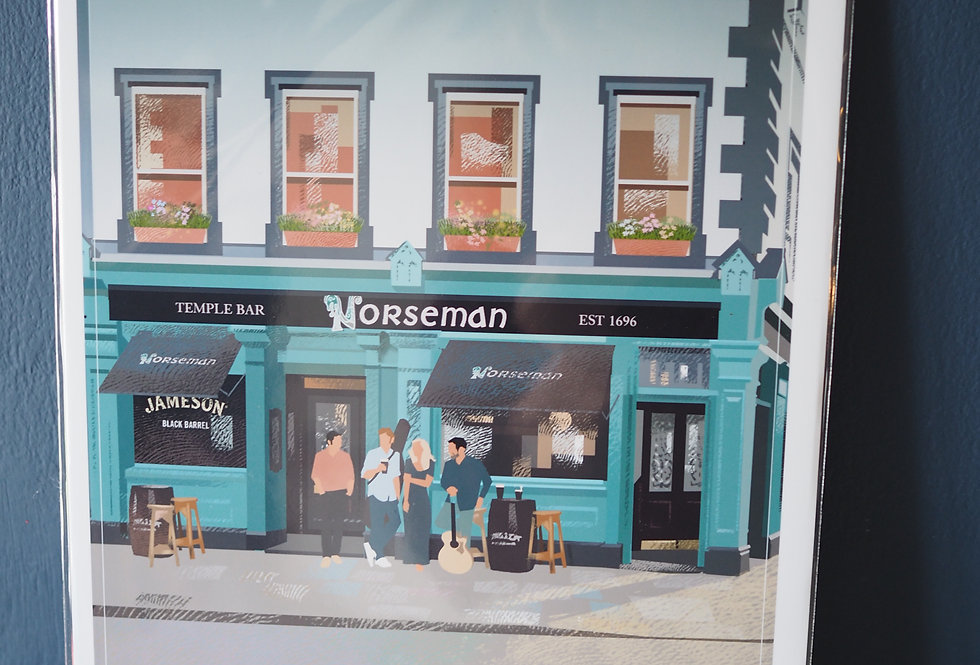Irish Pub Series Print A4 -The Norseman- Dublin