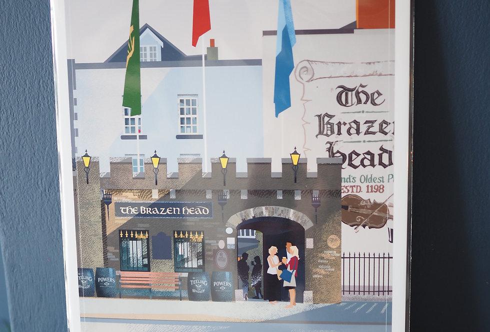 Irish Pub Series Print A4 -The Brazen Head- Dublin