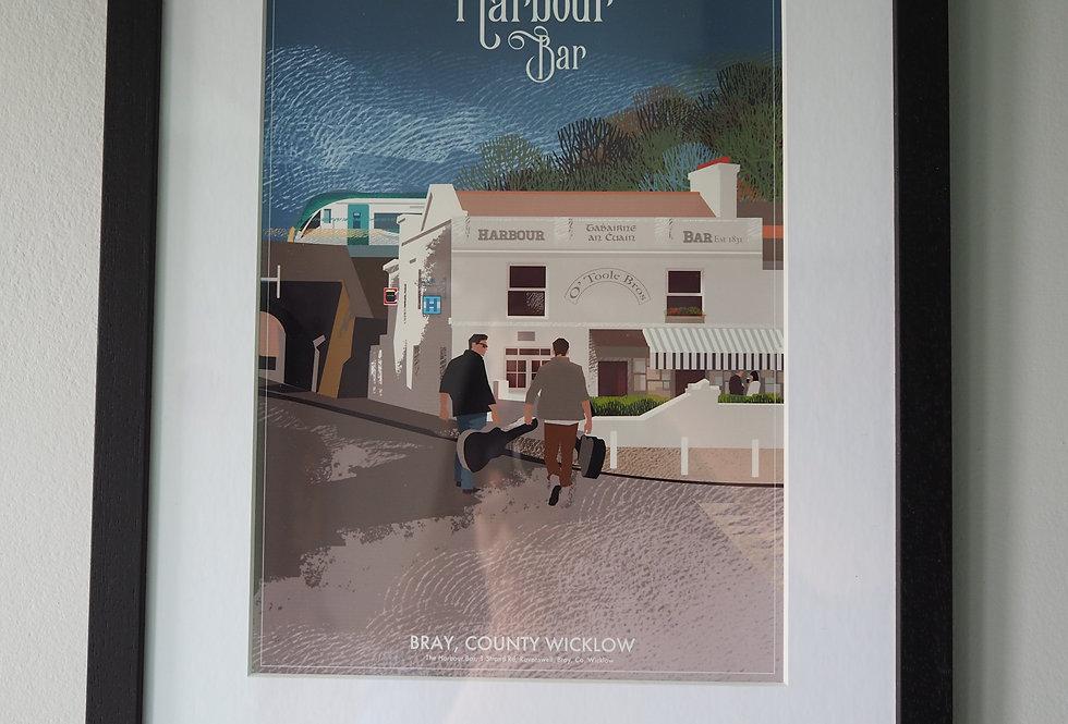 Harbour Bar Black Framed Print A4
