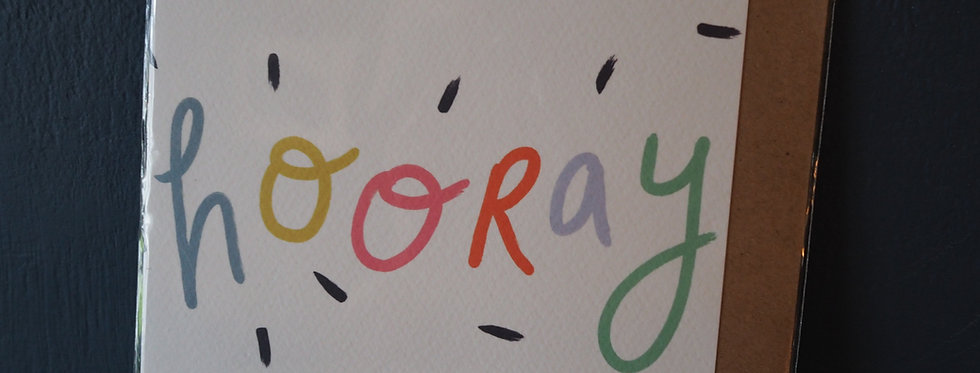 Hooray Celebration Card- Pickled pom pom