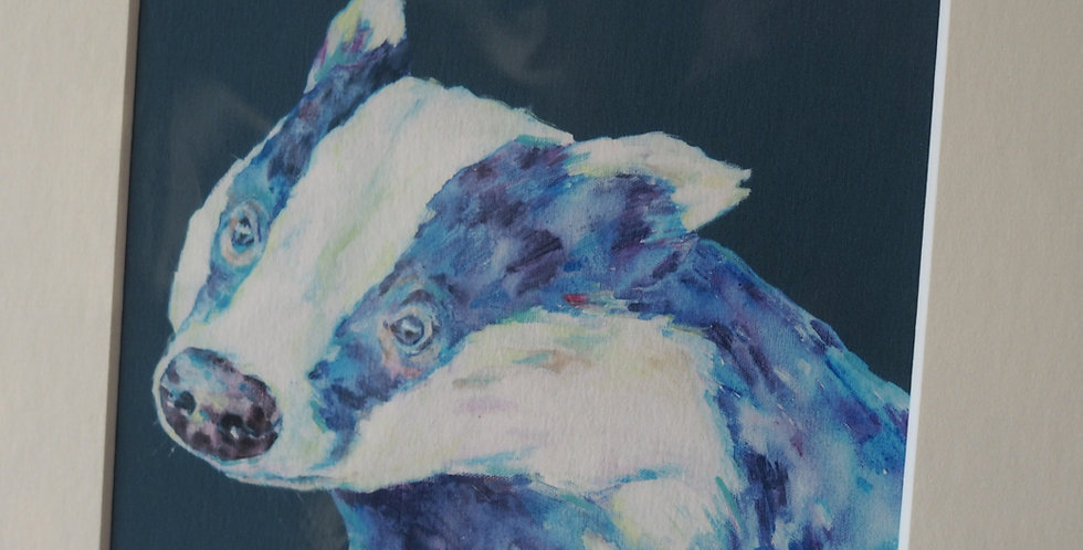 Badger Blues Irish Artist Limited Edition Print- Lorraine Fletcher