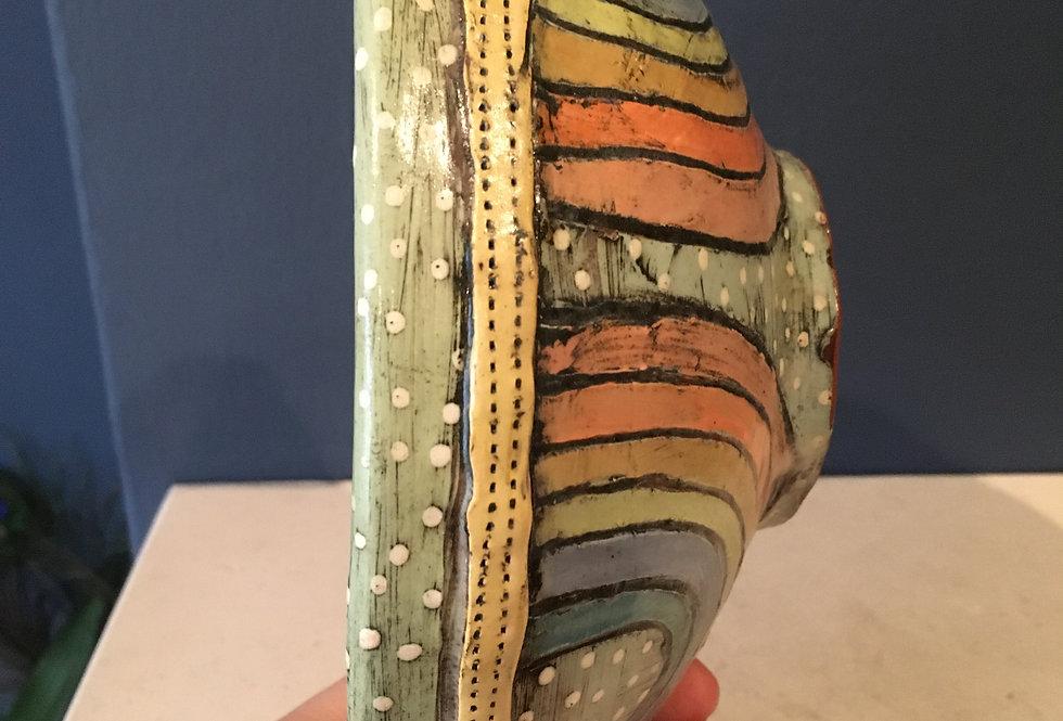 Rainbow red clay handmade textured bowl
