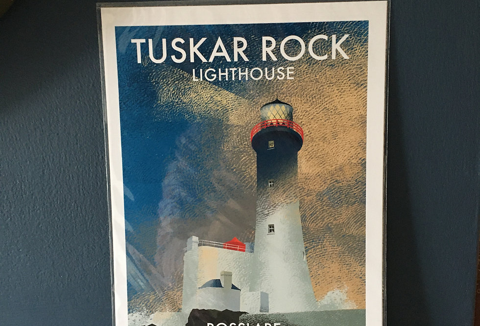 Irish Lighthouse Series A4 Artist Signed Print-Tuskar Rock