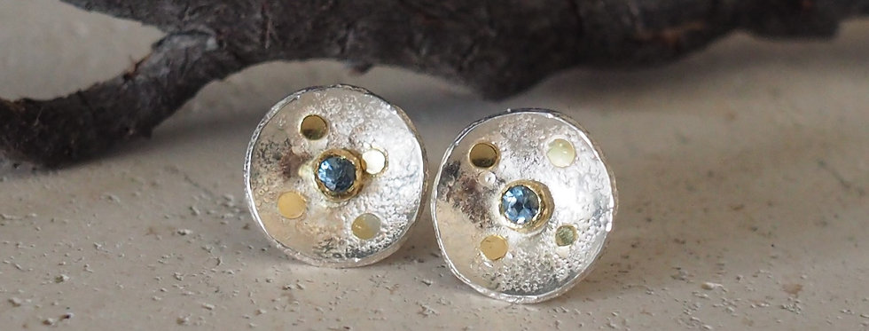 Satellite of Love Studs with Sterling Silver and 18ct Gold - Aquamarine