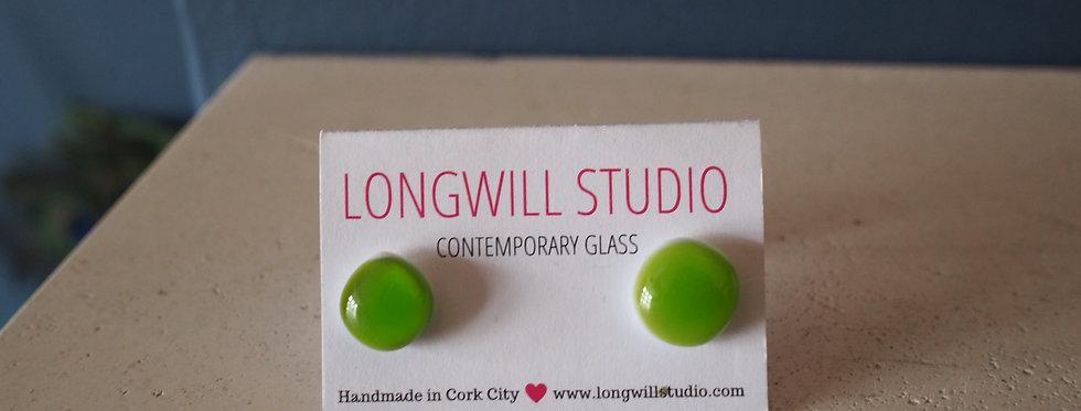 Funky glass stud earrings apple green- Longwill Studios