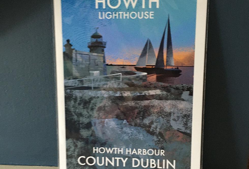 Irish Lighthouse Series A4 Artist Signed Print-Howth