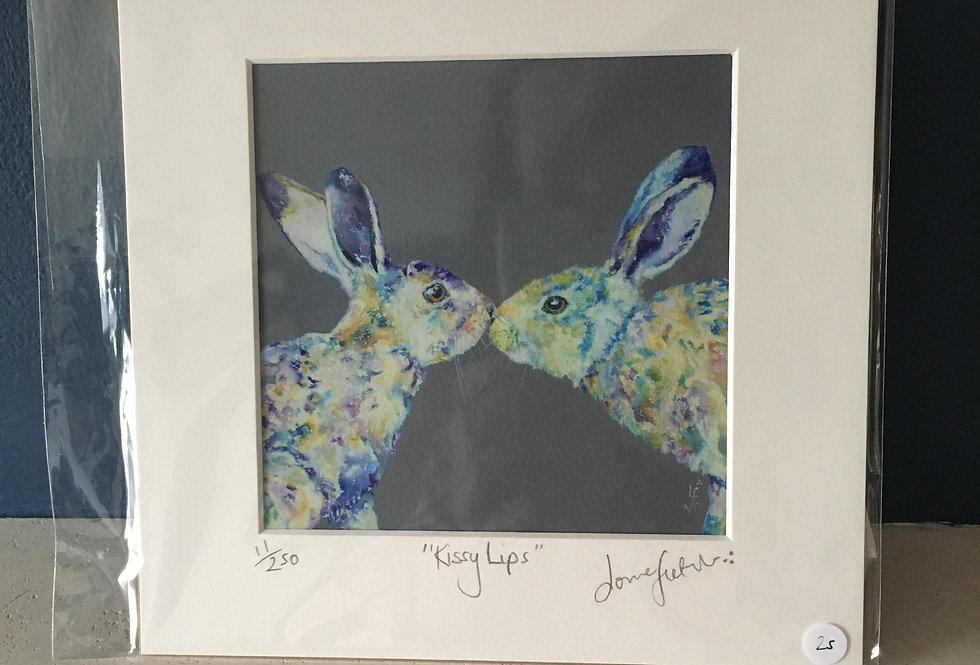 Lorraine Fletcher print-Kissy Lips- Irish Hares