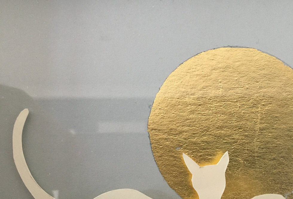 Handcut paper cat with 24cy gold moon