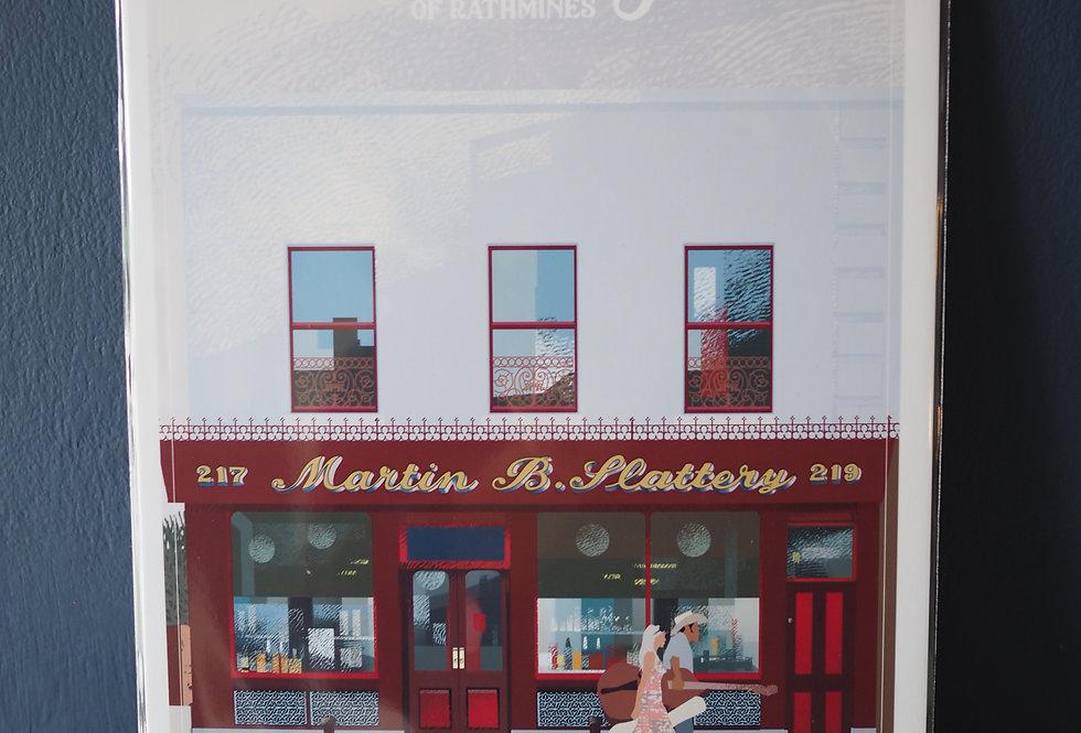 Irish Pub Series Print A4 -Slattery's - Rathmines