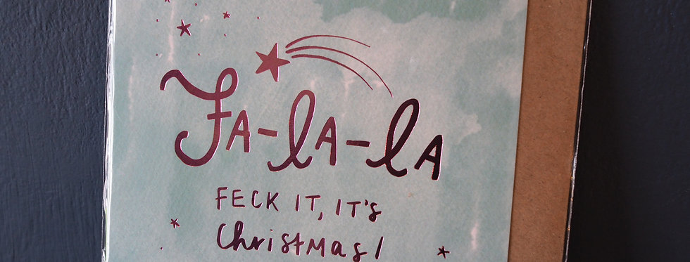 Fa La La Foil Embossed Christmas Card- Pickled pom pom