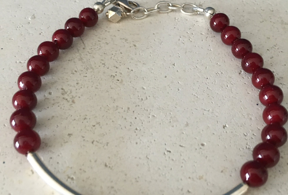Red Mother of Pearl and Sterling Silver Bracelet