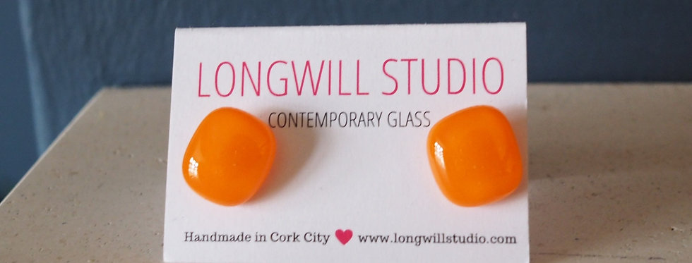 Sparkly glass stud earrings  bright orange - Longwill Studios