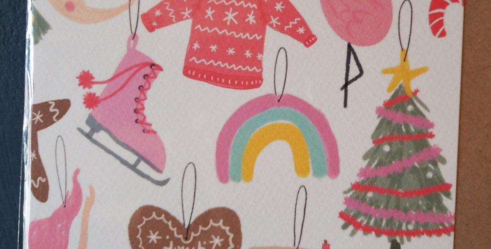 Retro Style Christmas Card Square- Pickled pom pom