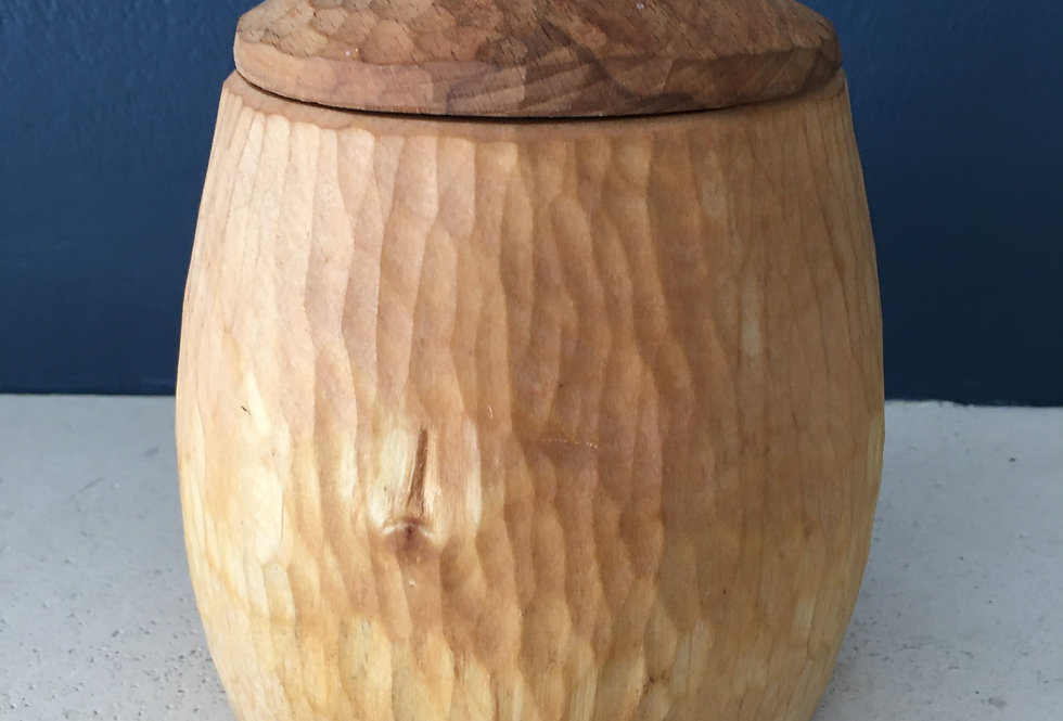 Textured Wooden Viking Pot with Leather Strap