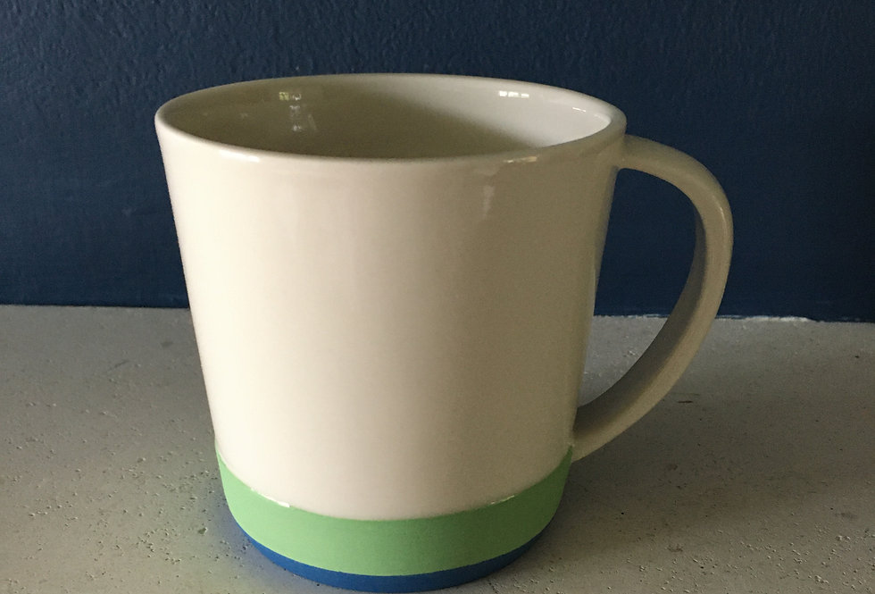 Contrasting colour handmade porcelain mugs- Adele Stanley