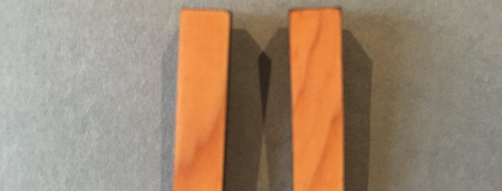Mini Rectangular Studs- Irish Yew Wood- Rowena Sheen