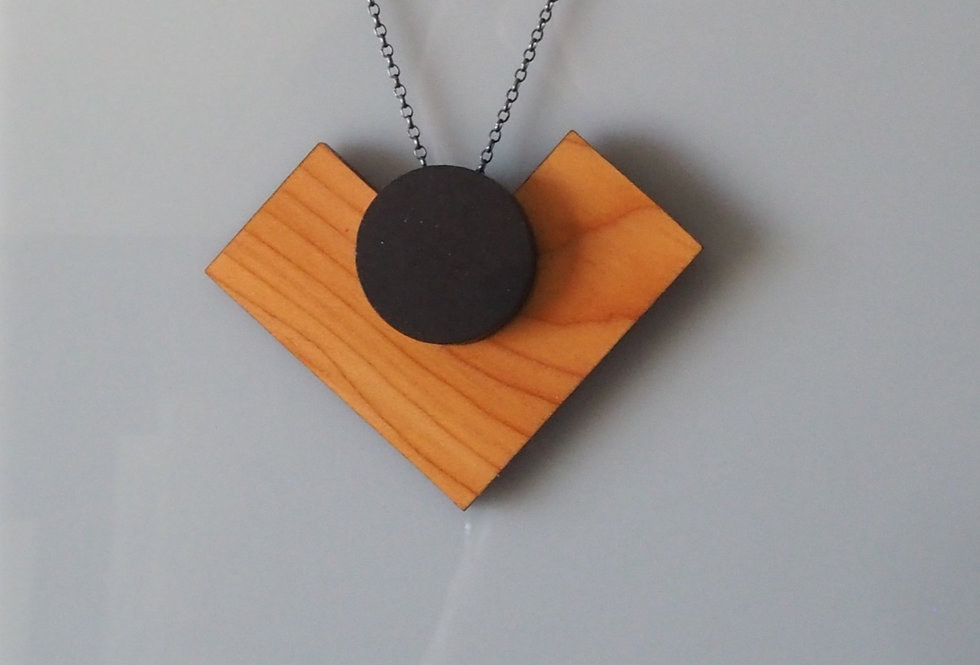 Geometric Harte Contemporary Wooden Pendant- Rowena Sheen