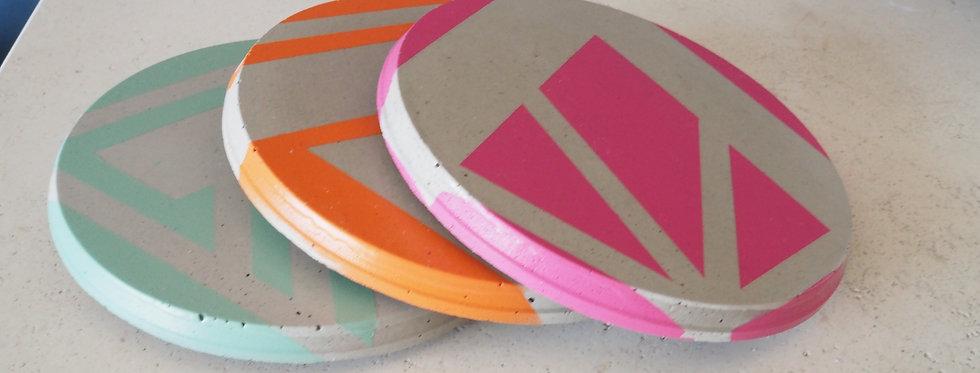 Graphic Handmade Concrete Coasters