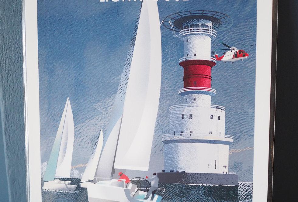 Irish Lighthouse Series A4 Artist Signed Print- KishBank