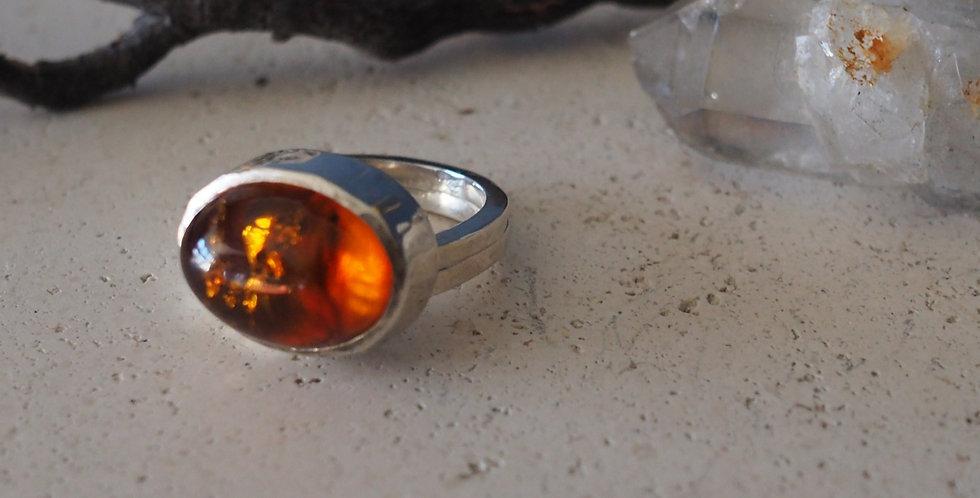 Natural Amber Textured D- Shaped Ring - Handmade