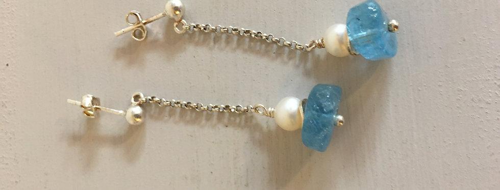 Aquamarine, pearl and sterling silver handmade earrings-Ann Tyrrel