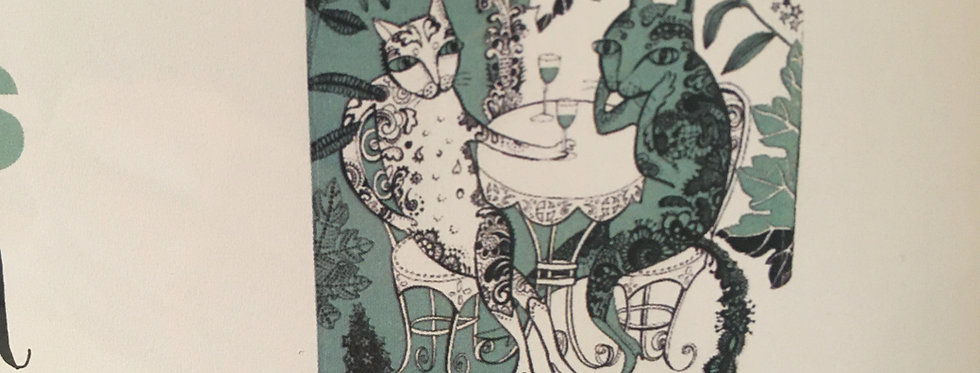 Kitty Cat TeaTowel 100% Cotton in teal