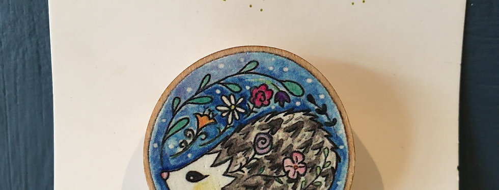 Orla Barry-Hedgehog Wooden Brooch